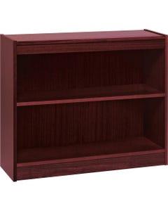 "Lorell Panel End Hardwood Veneer Bookcase - 36"" x 12"" x 30"" - 2 x Shelf(ves) - 110 lb Load Capacity - Mahogany - Laminate - Wood, Veneer - Assembly Required"