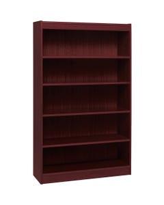 "Lorell Panel End Hardwood Veneer Bookcase - 36"" x 12"" x 60"" - 5 x Shelf(ves) - 550 lb Load Capacity - Mahogany - Laminate - Wood - Assembly Required"