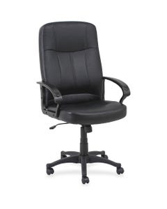 Lorell Chadwick Executive Leather High-Back Chair - Black Leather Seat - Black Frame - 5-star Base - Black - 1 / Each