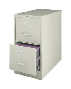 """Lorell Vertical file - 2-Drawer - 15"""" x 25"""" x 28.4"""" - 2 x Drawer(s) for File - Letter - Vertical - Security Lock, Ball-bearing Suspension, Heavy Duty - Putty - Steel - Recycled"""