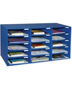 """Classroom Keepers 15-Slot Mailbox - 15 Compartment(s) - Compartment Size 3"""" x 12.50"""" x 10"""" - 16.4"""" Height x 31.5"""" Width x 12.9"""" Depth - Recycled - Blue - Cardboard - 1Each"""