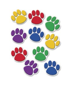 """Teacher Created Resources Colorful Paw Prints Accent - 8.50"""" Height x 7"""" Width - Assorted - 30 / Pack"""