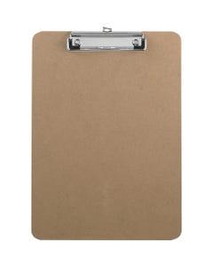 "Business Source Flat Clip Hardboard Clipboard - 9"" x 12 1/2"" - Hardboard - Brown - 1 / Each"