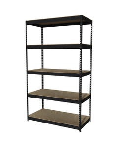 """Lorell Riveted Steel Shelving - 5 Compartment(s) - 84"""" Height x 48"""" Width x 24"""" Depth - Recycled - Black - Steel - 1Each"""
