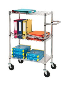 """Lorell 3-Tier Rolling Carts - 99 lb Capacity - 4 Casters - Steel - x 16"""" Width x 26"""" Depth x 40"""" Height - Chrome - 1 Each"""