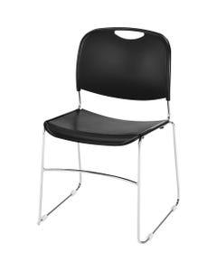 "Lorell Lumbar Support Stacking Chair - Black Polymer Seat - Black Polymer Back - Chrome Metal Frame - Black - 19"" Width x 19"" Depth x 30"" Height - 4 / Carton"