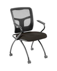 "Lorell Mesh Back Fabric Seat Nesting Chairs - Fabric Seat - Powder Coated Metal Frame - Four-legged Base - Black - Mesh - 24.4"" Width x 24"" Depth x 37"" Height - 2 / Carton"