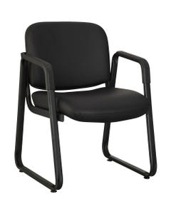 """Lorell Black Leather Guest Chair - Black Leather, Plywood Seat - Black Leather, Plywood Back - Metal Frame - Black - 26"""" Width x 24.8"""" Depth x 33.5"""" Height - 1 Each"""