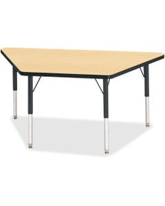 """Berries Elementary Height Classic Trapezoid Table, Laminated Trapezoid, Maple Top, Four Leg Base, 4 Legs, 48"""" Table Top Length x 24"""" Table Top Width x 1.13"""" Table Top Thickness, 24"""" Height, Steel"""