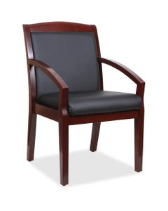 """Lorell Sloping Arms Wood Guest Chair, Black Bonded Leather Seat, Black Bonded Leather Back, Mahogany Solid Wood, Rubberwood Frame, Four-legged Base, 20.13"""" Seat Width x 17.38"""" Seat Depth, 23.3"""" Width x 24.4"""" Depth x 34"""" Height,1EA"""