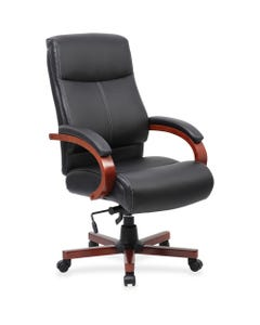 """Lorell Executive Chair - Black Leather Seat - Black Leather Back - 27"""" Width x 31"""" Depth x 47"""" Height - 1 Each"""