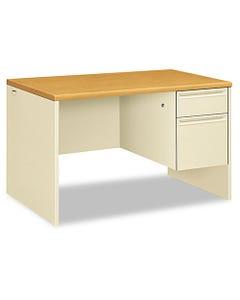 HON® 38000 Series Right Pedestal Desk, 48W X 30D X 29.5H, Harvest/Putty