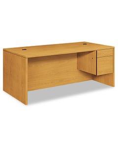 "HON® 10500 Series Large ""L"" Or ""U"" Right 3/4 Height Pedestal Desk, 72W X 36D X 29.5H, Harvest"