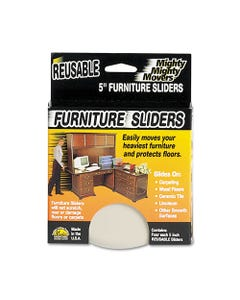 """Master Caster® Mighty Mighty Movers Reusable Furniture Sliders, Round, 5"""" Dia., Beige, 4/Pack"""