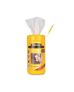 """Fellowes® Screen Cleaning Wet Wipes, 5.12"""" X 5.90"""", 100/Tub"""