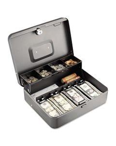 SteelMaster® Tiered Cash Box W/Bill Weights, Cam Key Lock, Charcoal