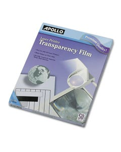 Apollo® B/W Laser Transparency Film, Letter, Clear, 50/Box