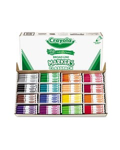 Crayola® Non-Washable Marker, Broad Bullet Tip, Assorted Colors, 256/Box