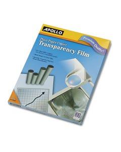 Apollo® Plain Paper B/W Transparency Film, Letter, Clear, 100/Box