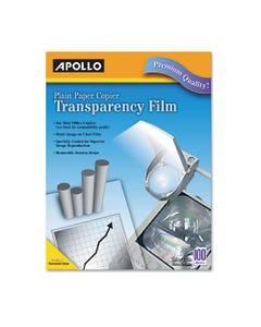 Apollo® Plain Paper B/W Laser Transparency Film W/Handling Strip, Letter, Clear, 100/Box