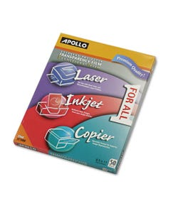 Apollo® Color Laser/Inkjet Transparency Film, Letter, Clear, 50/Box