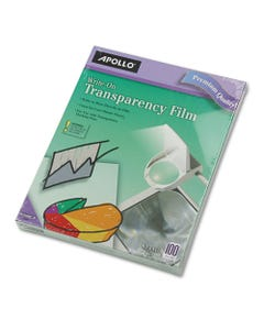 Apollo® Write-On Transparency Film, Letter, Clear, 100/Box