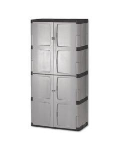 Rubbermaid® Double-Door Storage Cabinet - Base/Top, 36W X 18D X 72H, Gray/Black
