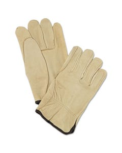 MCR™ Safety Unlined Pigskin Driver Gloves, Cream, Large, 12 Pairs