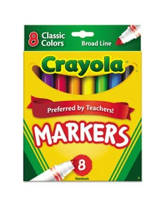 Crayola® Non-Washable Marker, Broad Bullet Tip, Assorted Colors, 8/Pack