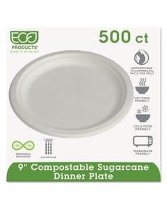 "Eco-Products® Renewable & Compostable Sugarcane Plates, 9"", 500/Carton"