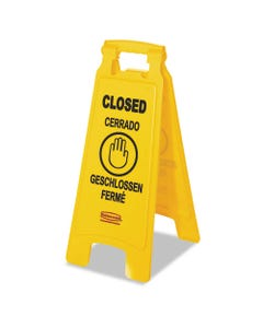 """Multilingual """"Closed"""" Sign, 2-Sided, Plastic, 11w X 12d X 25h, Yellow"""