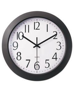 "Universal® Whisper Quiet Clock, 12"" Overall Diameter, Black Case, 1 Aa (Sold Separately)"