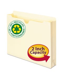 Smead® 100% Recycled Top Tab File Jackets, Straight Tab, Letter Size, Manila, 50/Box