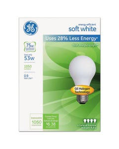 GE Energy-Efficient A19 Halogen Bulb, Soft White 53 W, 4/Pack