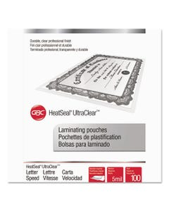 """GBC® Ultraclear Thermal Laminating Pouches, 5 Mil, 9"""" X 11.5"""", Gloss Clear, 100/Box"""