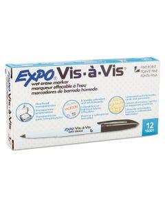 Vis-A-Vis Wet-Erase Marker, Fine Point, Black, Dozen