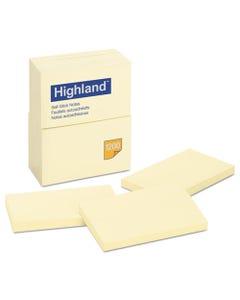Highland™ Self-Stick Notes, 3 X 5, Yellow, 100-Sheet, 12/Pack