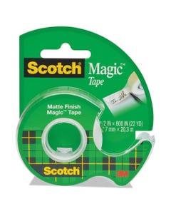 """Scotch® Magic Tape In Handheld Dispenser, 1"""" Core, 0.5"""" X 66.66 Ft, Clear"""