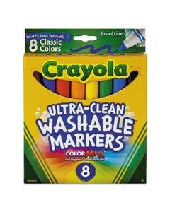 Crayola® Ultra-Clean Washable Markers, Broad Bullet Tip, Classic Colors, 8/Pack