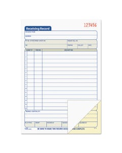 TOPS™ Receiving Record Book, 5 9/16 X 7 15/16, Two-Part Carbonless, 50 Sets/Book
