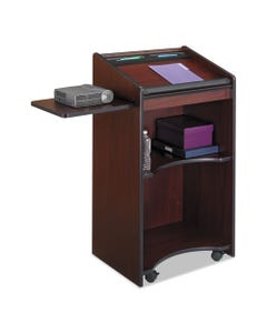 Safco® Executive Mobile Lectern, 25.25W X 19.75D X 46H, Mahogany