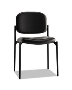 HON® Vl606 Stacking Guest Chair Without Arms, Black Seat/Black Back, Black Base