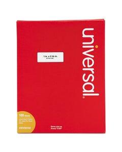 Universal® White Labels, Inkjet/Laser Printers, 1 X 2.63, White, 30/Sheet, 100 Sheets/Box