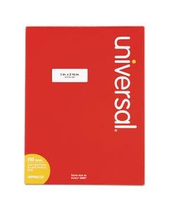 Universal® White Labels, Inkjet/Laser Printers, 1 X 2.63, White, 30/Sheet, 250 Sheets/Pack