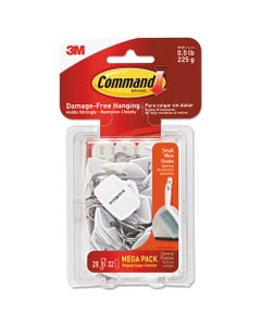 Command™ General Purpose Hooks, Small, 0.5 Lb Cap, White, 28 Hooks And 32 Strips/Pack