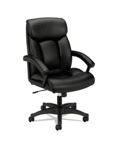 HON® Hvl151 Executive High-Back Leather Chair, Supports Up To 250 Lbs., Black Seat/Black Back, Black Base