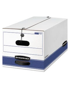 """Bankers Box® Stor/File Medium-Duty Strength Storage Boxes, Letter Files, 12.25"""" X 24.13"""" X 10.75"""", White/Blue, 12/Carton"""