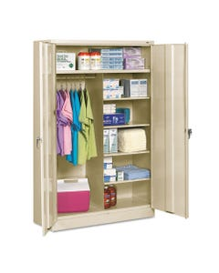 Tennsco Jumbo Combination Steel Storage Cabinet, 48W X 24D X 78H, Putty