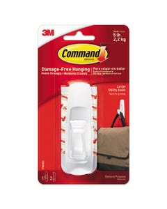Command™ General Purpose Hooks, Large, 5 Lb Cap, White, 1 Hook And 2 Strips/Pack