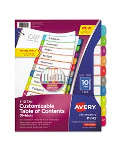 Avery® Customizable Toc Ready Index Multicolor Dividers, 1-10, Letter